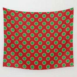 Christmas Polka Dots in Green and White on Red Wall Tapestry