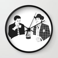 dale cooper Wall Clocks featuring TWIN PEAKS - Dale Cooper and Harry Truman by Pan and Scan