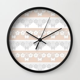 Peach-colored lace . Wall Clock