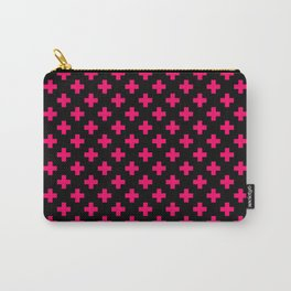 Hot Neon Pink Crosses on Black Carry-All Pouch