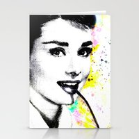 audrey hepburn Stationery Cards featuring AUDREY HEPBURN by Vertigo