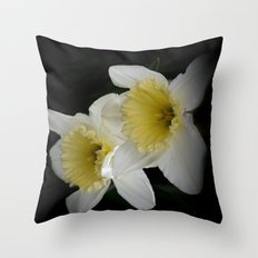 white daffodils on black Throw Pillow
