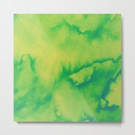 Watercolor texture - green and yellow Metal Print