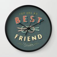 best friend Wall Clocks featuring Best Friend by Seaside Spirit