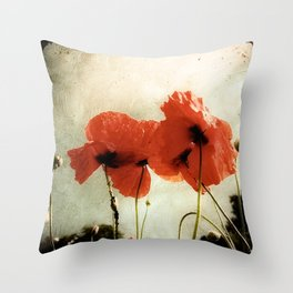 Deux Coquelicots Throw Pillow