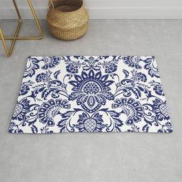 damask blue and white Rug