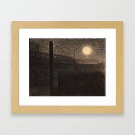 Georges Seurat - Factories by Moonlight - Rare Retro Vintage Drawing Framed Art Print