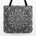 Black and White Simple Simplistic Mandala Design Ethnic Tribal Pattern by aej_design