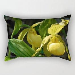 Rhode Island Wild Orchid Lady Slipper Flowers Rectangular Pillow