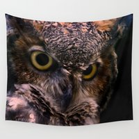 owl Wall Tapestries featuring Owl  by AvHeertum