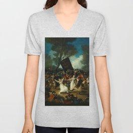 """Francisco Goya """"The Burial of the Sardine (El entierro de la sardina)"""" Unisex V-Neck"""