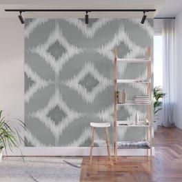 Elegant White Gray Retro Circles Squares Ikat Pattern Wall Mural