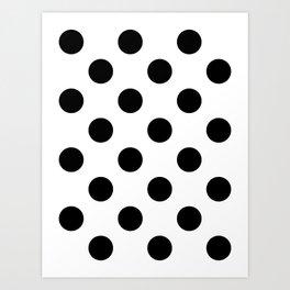 Large Polka Dots - Black on White Art Print