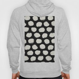Trendy Cream Polka Dots on Black Hoody