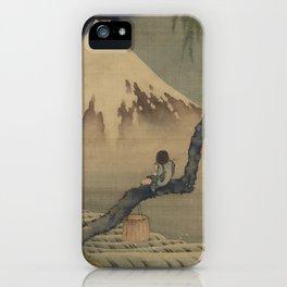 Boy Viewing Mount Fuji by Katsushika Hokusai iPhone Case
