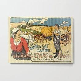 Vintage French farmers' union ad Metal Print