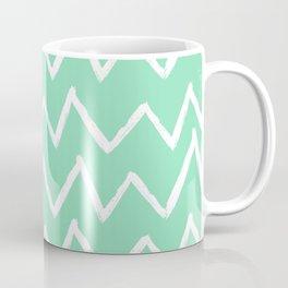 Hand-Drawn Zig Zag (White & Mint Pattern) Coffee Mug