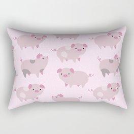 Cute Pink Piglets Pattern Rectangular Pillow