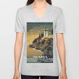 Vintage poster - Acadia National Park Unisex V-Neck