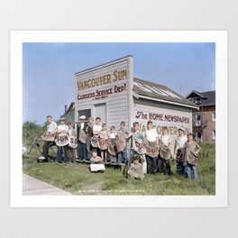 Vancouver Sun Service Department hut and carriers, New Westminster, BC, 1933 Art Print
