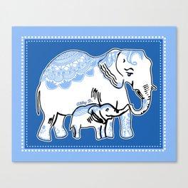 Ornate Elephants Blue and White Canvas Print