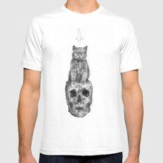 The Cat, The Skull, The Cross Mens Fitted Tee MEDIUM White