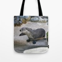 otter Tote Bags featuring Otter by Phil Hinkle Designs