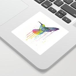 Hummingbird Rainbow Watercolor Sticker