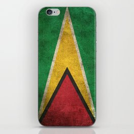 Old and Worn Distressed Vintage Flag of Guyana iPhone Skin