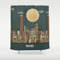 miami Shower Curtains featuring miami city  by bri.buckley