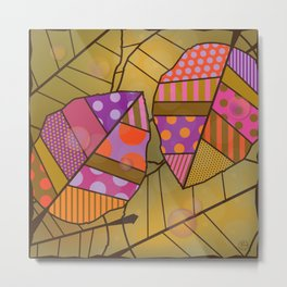Autumn Leaves (Patterned Leaf Patchwork) Metal Print