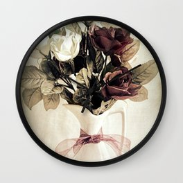Roses in Pitcher Modern Cottage Chic Country Still Life A450 Wall Clock