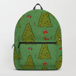 Green Glitter Christmas Trees Candy Gift Boxes Pattern Backpack