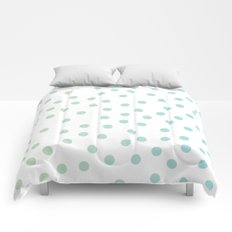 Simply Dots in Turquoise Green Blue Gradient on White Comforters