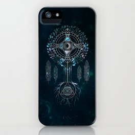 Mystical Alchemy Tree Ornament - marble and silver iPhone Case