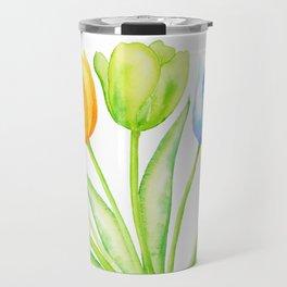 Rainbow Tulips, Spring Flowers Travel Mug