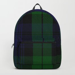 chainsaw blue & green - holiday and everyday black blue tartan black watch plaid check Backpack