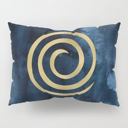 Infinity Navy Blue And Gold Abstract Modern Art Painting Pillow Sham