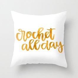 Crochet All Day - Mustard Throw Pillow