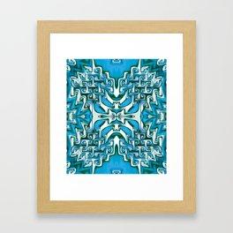 Blue and White Spiral Bends Framed Art Print