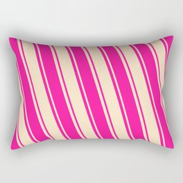Deep Pink & Bisque Colored Striped/Lined Pattern Rectangular Pillow