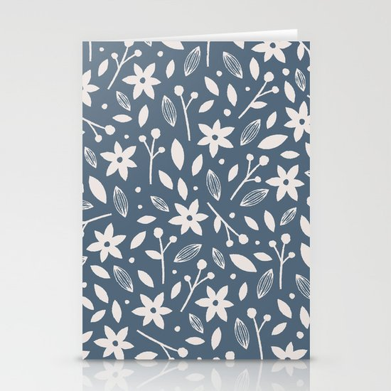 Winter Bloom - in Navy Stationery Cards