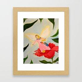 Fairy on a Red Flower Framed Art Print