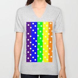Rainbow Striped and Polka Dots Pattern Unisex V-Neck