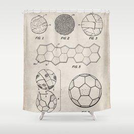 Soccer Ball Patent - Football Art - Antique Shower Curtain
