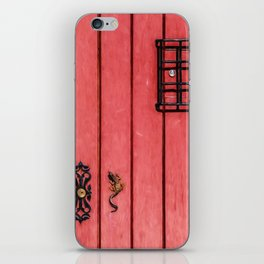 Faded Weathered Red Painted Speakeasy Door of Old World Europe iPhone Skin