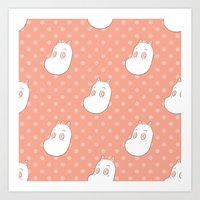 moomin Art Prints featuring Moomin Dots by Unscrupulous Designs