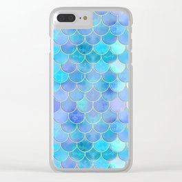 Aqua Pearlescent & Gold Mermaid Scale Pattern Clear iPhone Case