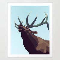 elk Art Prints featuring Elk by Of Newts and Nerds