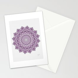 16 Fold Mandala in Purple Stationery Cards